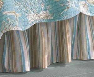 (Aqua & Tan Stripes Natural Shells Twin 39