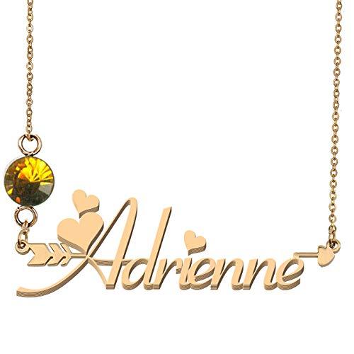 GR35Z9 Custom Family 18K Gold Birthstone Necklace Adrienne