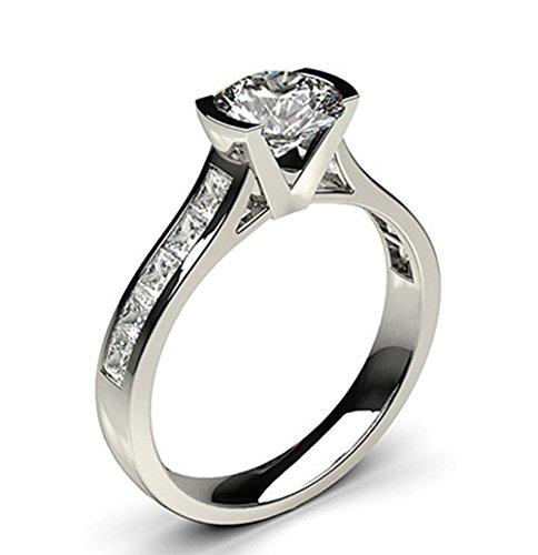 18K White Gold (HallMarked), Round Cut Semi Bezel Setting Large Side White Diamond Engagement Wedding Ring Size - 4.5
