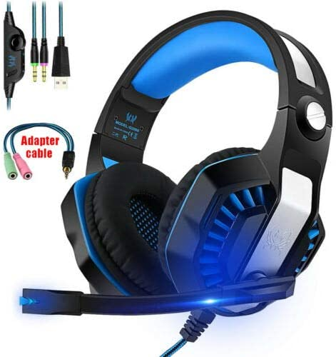 with Adapter RONSHIN Gaming Headset G2000 MIC LED Stereo Headphones for PC Laptop