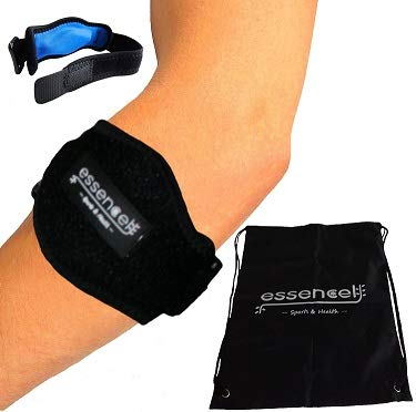 Tennis Elbow Brace for Tendonitis Treatment, Golfers Elbow Strap with Compression Pad, Arm Brace Pain Relief Support for man and woman + Drawstring Carrying Bag ()