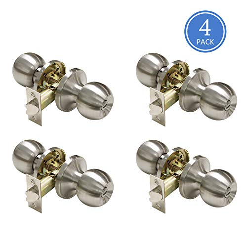 (Interior Door Knobs Brushed Nickel Finish Keyless Privacy Door Handles, Bedroom Door Lock Bathroom Privacy Door Handles, Classic Round Style Contractor Pack of 4 )
