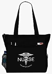 Nurse The Art Of Caring Caduceus Tote Bag Office School Travel Business Personal Organizer - Black