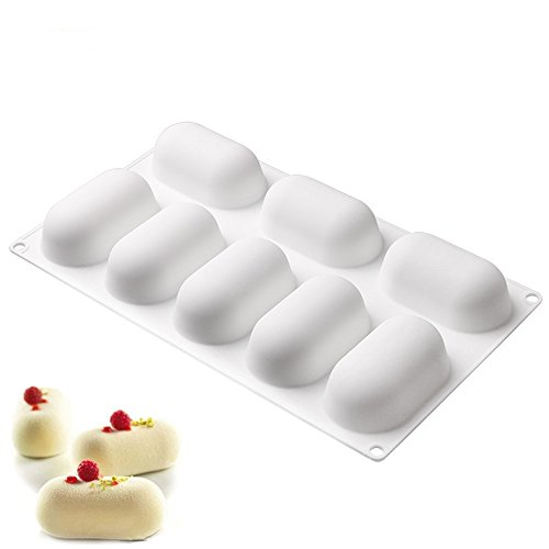 New Arrival 8-Pillows White Silicone Cake Mold 3D Oval Baiking Chocolate Dessert Mousse Mould DIY Fondant Cake Decorating (Semi Homemade Halloween Recipes)