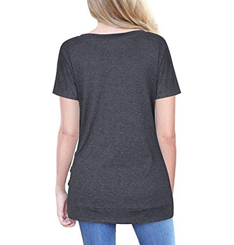 Maglietta Maniche Magliette Shirt Estate Casuale T Donna Pulsante Corte Con Nero Koobea Tops Girocollo YqCwYX