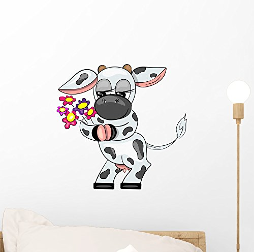 Vector Cow Holding Flowers Wall Decal By Wallmonkeys Peel And Stick Graphic  12 In H X 12 In W  Wm270661