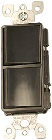 120//277 Volt Black Commercial Grade Leviton 5641-E 15 Amp Grounding Decora Single-Pole // 3-Way AC Combination Switch