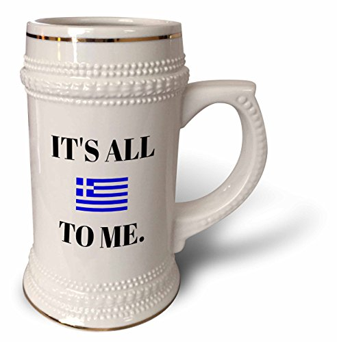 3dRose Xander funny quotes - Its all Greek to me, black letters and picture of Greek flag - 22oz Stein Mug (stn_265949_1)