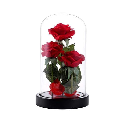 Uonlytech Rosa de Vidrio Cúpula con Led Cadena de Luces y la Base de Madera para Regalo de Mujer para el día de San...