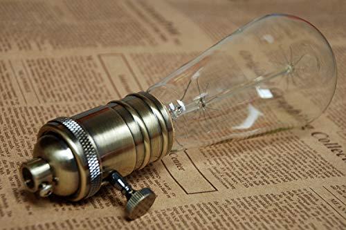 Lamp Base - Vintage Lamp Bases E27 Edison Copper Bronzed Retro Screw Bulb Socket Knob Switch Pendant Light Lamp Holders 2PCS by Kamas (Image #5)