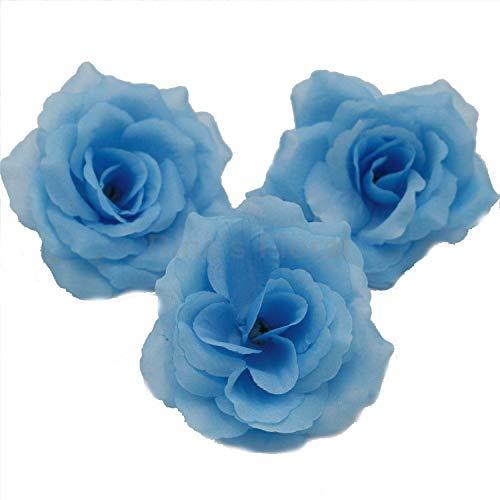 - Silk Flowers Wholesale 100 Artificial Silk Rose Heads Bulk Flowers 10cm For Flower Wall Kissing Balls Wedding Supplies (Light Blue)