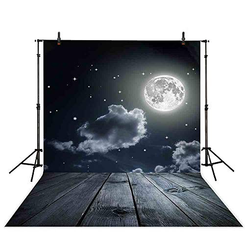Allenjoy 5x7ft Halloween Night Sky Moon Stars Wood Floor Shine Stars Photography Backdrop Kids Children Adults Photo Studio Backdrop]()
