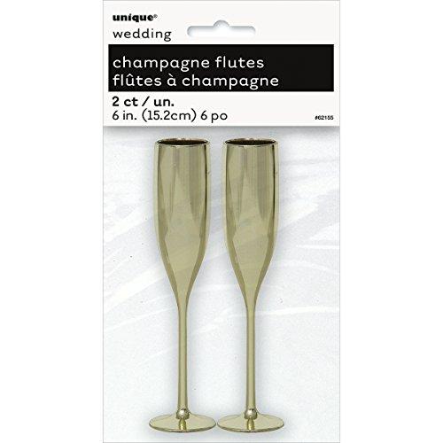 Plastic Gold Champagne Flutes, 2ct (Mini Champagne Flutes compare prices)