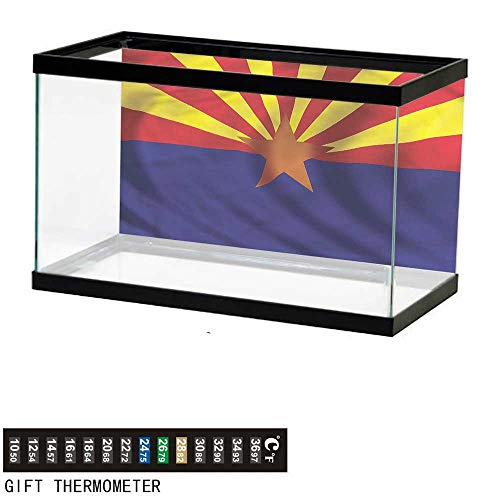 bybyhome Fish Tank Backdrop American,Arizona Flag Star Sunrays,Aquarium Background,48