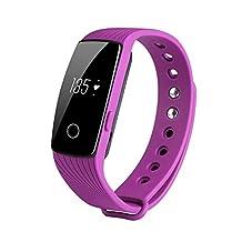 REDGO Fitness Tracker Wireless Waterproof Activity Wristband Smart Bracelet with Heart Rate Monitor Remote Camera Control Sports Pedometer, Purple