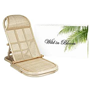Rattan Folding, Portable Beach Chair, Wicker, Cane, Bamboo Lounger. Rattan Lawn, Floor, Pool Lounger, sunbed, Deck Chair