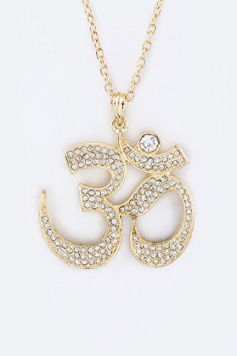 Trendy Fashion Jewelry Crystal Om Pendant Necklace By Fashion Destination | (Gold) ()