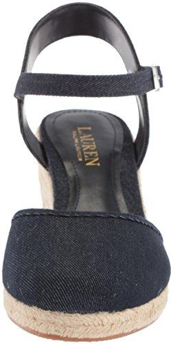 Lauren By Ralph Lauren Womens Hayleigh Ii Espadrille Sandalo Con Zeppa Blu Scuro