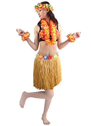 Hawaii Dance Costume (Hawaii Hula Adult Clothing Ballet Suit Dance Performance Costume Dress Skirt Garland Full Sets (Straw))