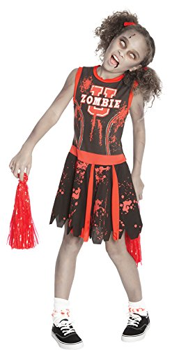 UHC Girl's Undead Zombie Cheerleader Outfit Fancy Dress Kids Halloween Costume, M]()