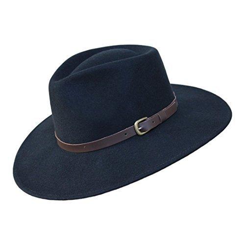 - Borges & Scott B&S Premium Lewis - Wide Brim Fedora Hat - 100% Wool Felt - Water Resistant - Leather Band - Black 60