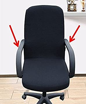 Shihualine(TM) Slipcovers Cloth Chair pads Removable Office Cover stretch cushion Resilient Fabric Chair Armrest Covers 55cm Black (Complete 2 Piece)