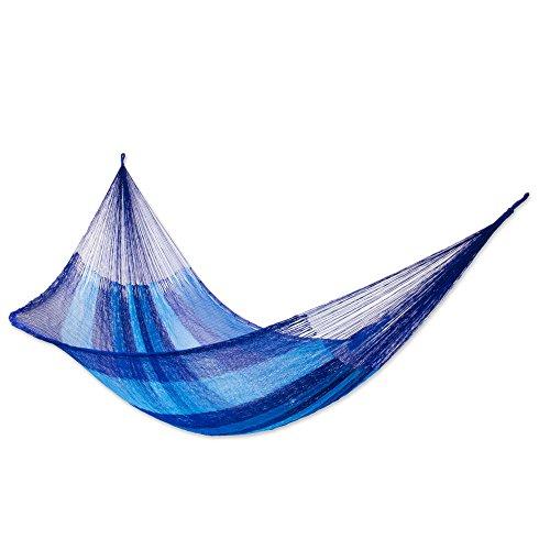NOVICA Sky Blue Dark Blue Striped Nylon Hand Woven Mayan Rope 2 Person XL Hammock, Blue Caribbean Double
