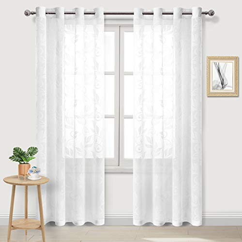 DWCN Floral Burnout White Sheer Curtains - Faux Linen Textured Semi Voile Bedroom and Living Room Curtains, 52 x 84 Inches Long, Set of 2 Grommet Window Curtain Panels