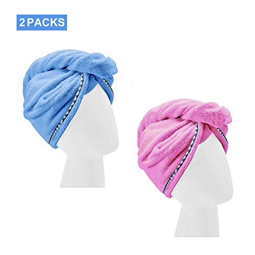 - Microfiber Hair Towel,YesTree 2 Pack Hair Towel Wrap Turban Drying Bath Shower Head Towel with Buttons,Quick Magic Dryer, Dry Hair Hat for Women and Girls(Blue,Rose Red)