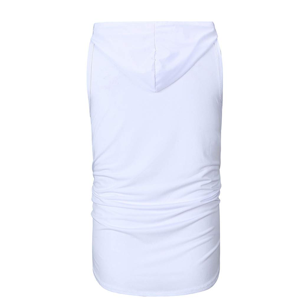 iYYVV Mens Casual Drex X Slim Letter Print Sleeveless Hooded Tank Tops T Shirt Blouse
