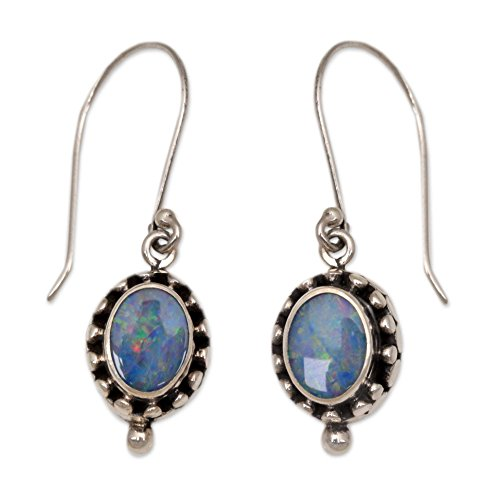 NOVICA Opal .925 Sterling Silver Dangle Hook Earrings 'Fairy Princess'