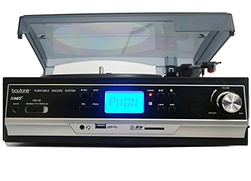 Boytone BT-16DJB-C 3-speed Stereo Turntable with 2 Built in Speakers Digital LCD Display + Supports USB/SD/AUX+ Cassette/MP3 & WMA Playback /Recorder & Headphone Jack + Remote Control by Boytone (Image #3)