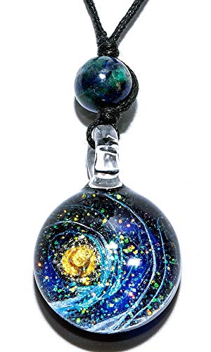 Handmade Premium World and Space Glass Blown Pendant Necklace Jewelry No.2 - Model Y2018