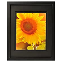 Burnes of Boston Carr Gallery Frame with Black Air Float Mat, 14 by 18-Inch Matted to 11 by 14-Inch, Black