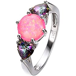 PSRINGS Small Rainbow Heart Pink Round Fire Opal Ring White Gold Filled Jewelry Wedding Rings Mother's Day 7.0
