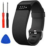 Sophili Bands Compatible for Charge Hr, Silicone Replacement Small Large with Metal Buckle Fitness Wristband Strap for Fitbit Charge HR / HR1(Black/L)