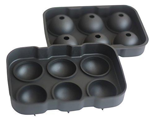 XXL-Eiskugelform für 6 Eiskugeln mit 4,5 cm Durchmesser aus Silikon - Eiswürfelform, Eisform, Eiskugel, Ice Ball Mold, Silikon-Eiswürfelform, Sphere Silikon-Eis-Maker