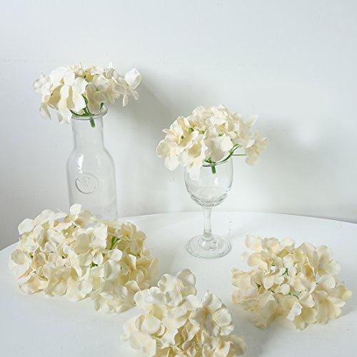 Veryhome Blooming Silk Hydrangea Flower Heads for DIY BouquetsWedding CenterpiecesHome Decor cream white12pcs