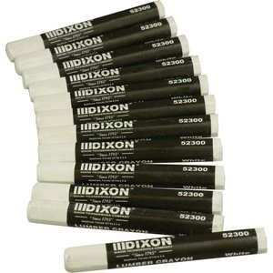 Dixon 52300 Industrial Lumber Crayon - White - 12 per Package