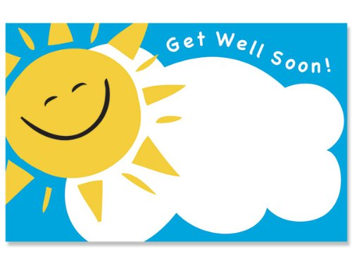 Pack Of 50, Get Well Soon Enclosure Card 3-1/2'' x 2-1/4'' Made In USA by Generic