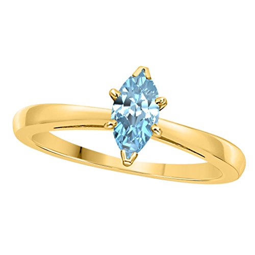 Aquamarine Marquise - SRJEWELS 14k Gold Plated Alloy White/Yellow/Rose/Black 0.75CT Marquise Cut Created Aquamarine Solitaire Ring Wedding Engagement Rings Sizes 4 to 11