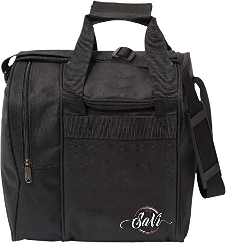 - SaVi Black Single Bowling Bag- 1 Bowling Ball Single Tote w/Adjustable Shoulder Strap- Fits Single Pair of Women's Bowling Shoes up to Size 11