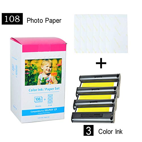 (SuperInk 1 Pack Compatible Canon KP-108IN 3 Color Ink Cassette and 108 Sheets 4 x 6 Paper Glossy For SELPHY CP1300 CP1200 CP910 CP900 CP760 CP770 CP780 CP800 Wireless Compact Photo Printer)