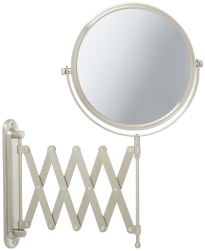 Jerdon JP2027N 8-Inch Two-Sided Swivel Wall Mount Mirror with 7x Magnification, 20-Inch Extension, Nickel Finish