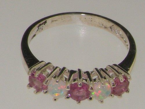 Haute Qualité Bague pour Femme en Or blanc 417/1000 (10 carats) sertie de Tourmaline rose et Opale - Tailles 47 à 68 disponibles