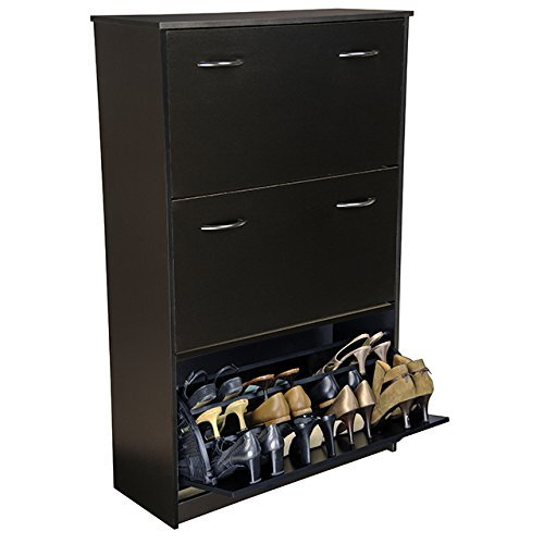 Venture Horizon Triple Shoe Cabinet- Black by Venture Horizon