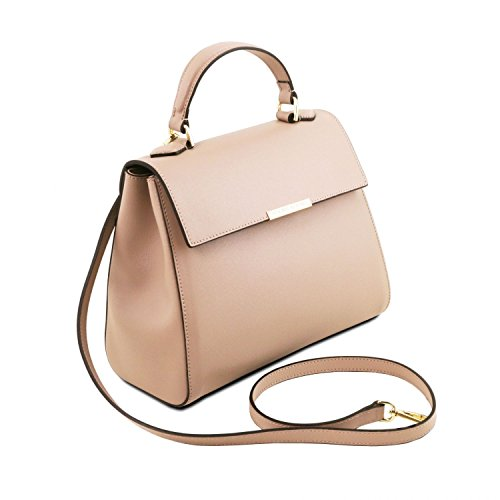 Tuscany Leather TL Bag - Kleine Bauletto Tasche aus Saffiano Leder - TL141628 (Lipstick Rot) Nude