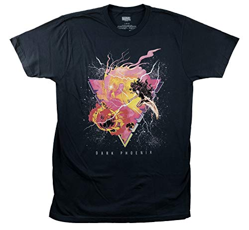 Marvel X-Men Burning Phoenix Icon Men's T-Shirt (Large) Navy