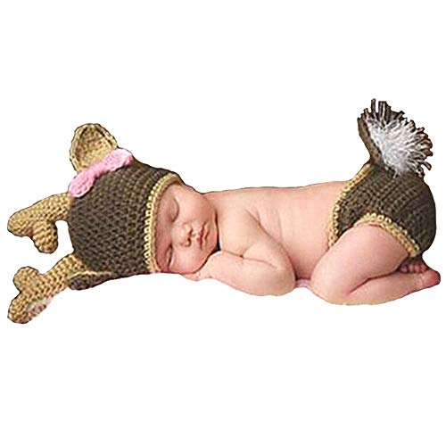 Besutana Newborn Baby Photography Props Outfits Christmas Deer for Girls Crochet Knitted Hat Pant