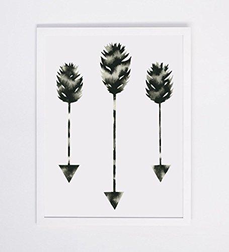 Watercolor Arrow Art Print, Modern Home Décor Black White Feather Arrow Artwork